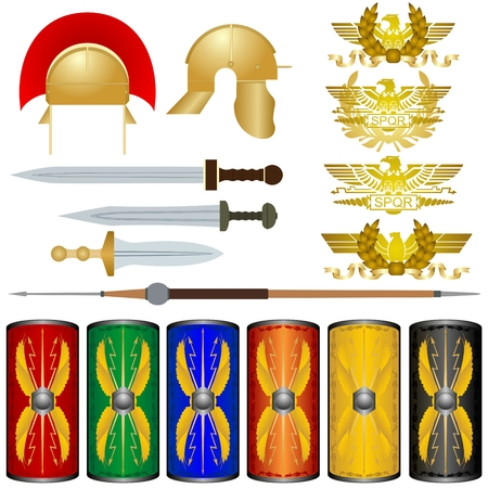 ancient rome: Weapons and symbols of the legions of ancient Rome. The illustration on a white background.