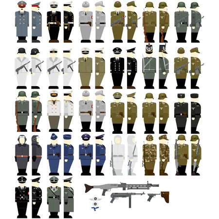 second world war: Uniforms and weapons of soldiers and officers of the Wehrmacht in the Second World War. The illustration on a white background. Illustration