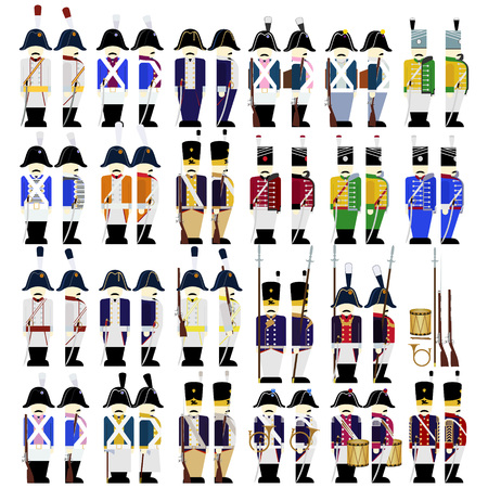 Prussian Army soldiers in uniforms and weapons were used in the 1812 war. The illustration on a white background.  イラスト・ベクター素材