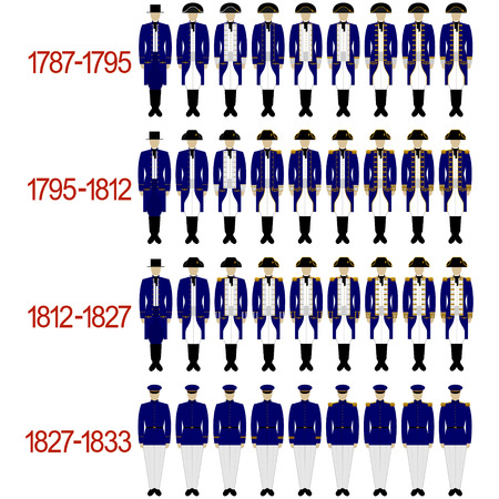 epaulettes: Insignia sailors and officers of the Royal Navy from 1787 to 1833 .. The illustration on a white background.