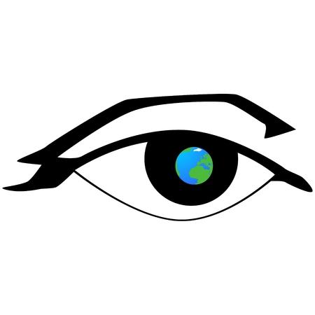 globe terrestre dessin: Le globe sur le fond de l'?il humain. L'illustration sur un fond blanc.