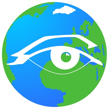 The globe on the background of the human eye. The illustration on a white background. Illustration