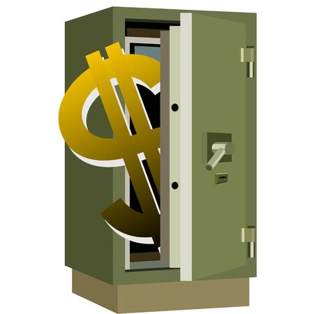 Safety deposit box and dollar sign inside the safe. The illustration on a white background.