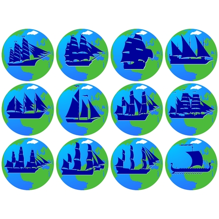 frigate: Set of vintage sailing ships in the background of the planet Earth. The illustration on a white background.