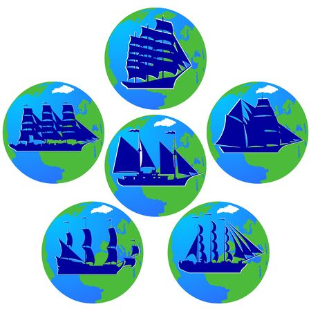 corvette: Set of vintage sailing ships in the background of the planet Earth. The illustration on a white background.