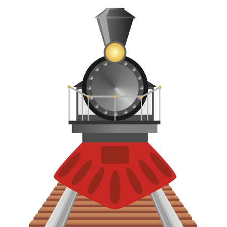 Old steam locomotive travels by rail. The illustration on a white background. Illustration
