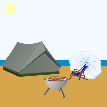 Tent, beach chair, umbrella and a device for frying meat on the beach near the sea.