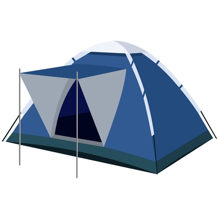 tarpaulin: Tent, portable and compact device for tourism. The illustration on a white background.