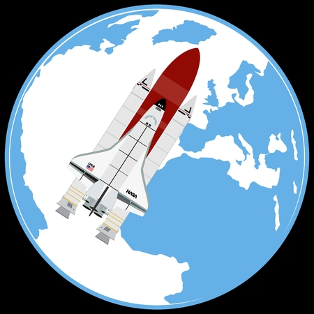 aerospace: Multi-purpose aerospace system ?Space Shuttle?. against the backdrop of the planet Earth. The illustration on a white background.