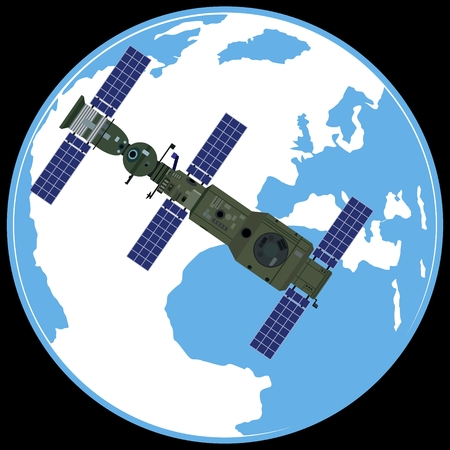 space station: Space orbital station on the background of the Earth. The illustration on a black background.