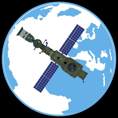 orbital station: Space orbital station on the background of the Earth. The illustration on a black background.