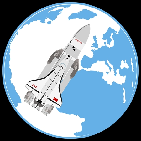 aerospace: Multipurpose aerospace system Buran on the background of the Earth. The illustration on a white background. Illustration
