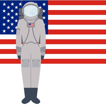 space suit: Space suit on background of the flag. The illustration on a white background.