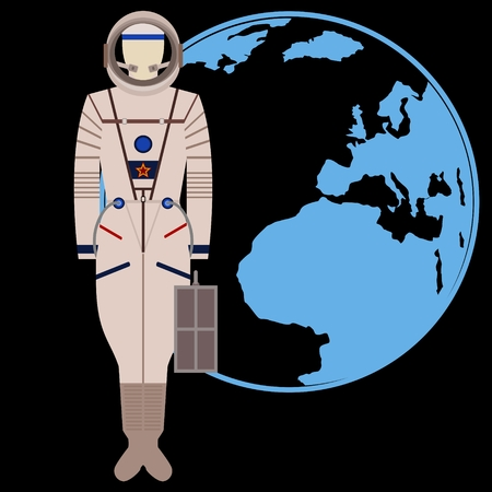 spacesuit: The space suit on the background of the Earth. The illustration on a black background. Illustration