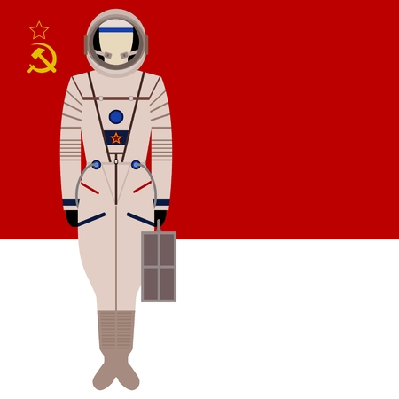 spacesuit: Space suit on background of the flag. The illustration on a white background.