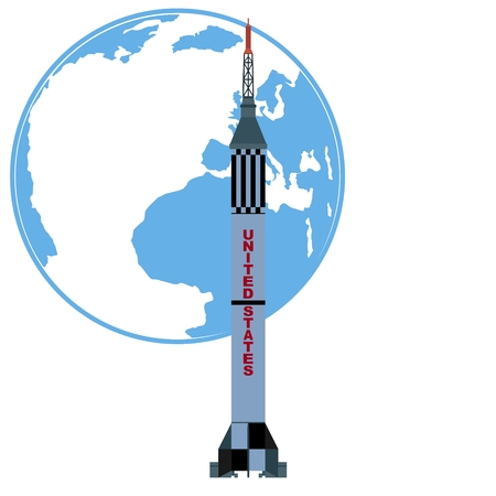 redstone: Booster ?Redstone? against the background of the Earth. The illustration on a white background.