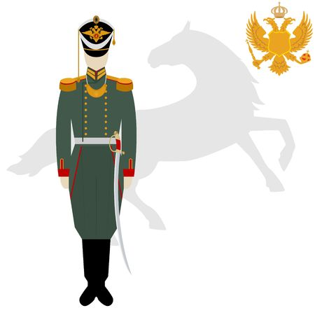 doubleheaded: Soldiers in uniforms and weapons of the Russian army at the Battle of Borodino in 1812. The illustration on a white background.