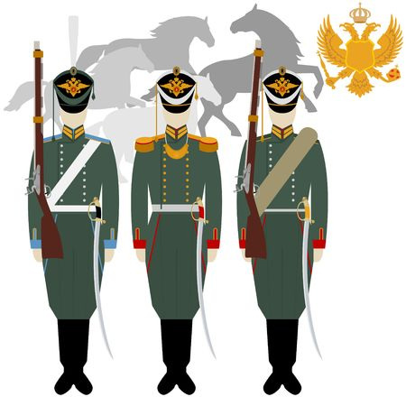 huntsman: Soldiers in uniforms and weapons of the Russian army at the Battle of Borodino in 1812. The illustration on a white background.