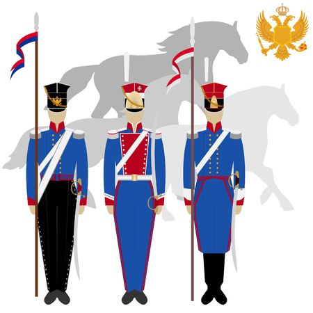 peak hat: Soldiers in uniforms and weapons of the Russian army at the Battle of Borodino in 1812. The illustration on a white background.