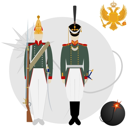 grenadier: Soldiers in uniforms and weapons of the Russian army at the Battle of Borodino in 1812. The illustration on a white background.