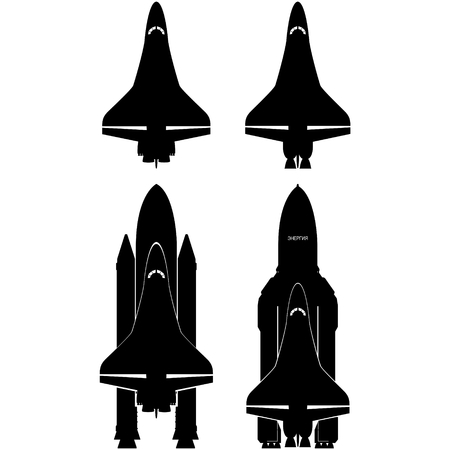 shuttles: Contours of the space shuttles. The illustration on a white background. Illustration