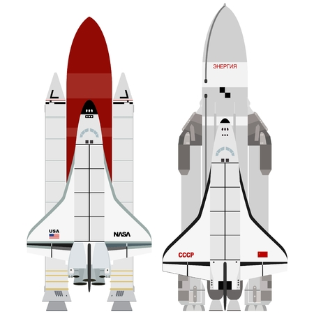aerospace: Multi-purpose aerospace system Buran? and ?Space Shuttle?. The illustration on a white background. Illustration