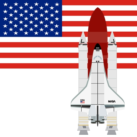 aerospace: Multi-purpose aerospace system ?Space Shuttle? against the background of the American flag. The illustration on a white background.