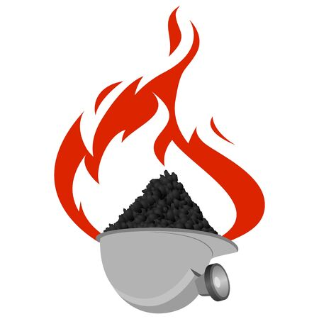 The helmet with coal on a background of fire. The illustration on a white background.