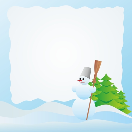 whisk broom: Snowman on the background of fir trees and snowdrifts. Illustration