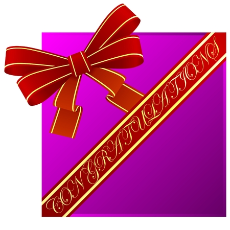 congratulatory: Red bow and ribbon with a congratulatory inscription. The illustration on a white background. Illustration