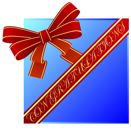 Red bow and ribbon with a congratulatory inscription. The illustration on a white background. Illustration