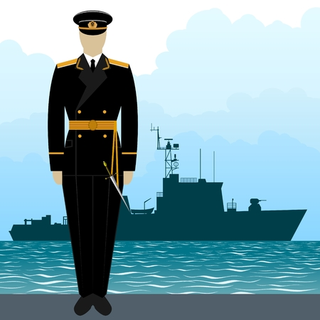 Soldier in uniform of military seaman on a background of a warship. The illustration on a white background. Illustration
