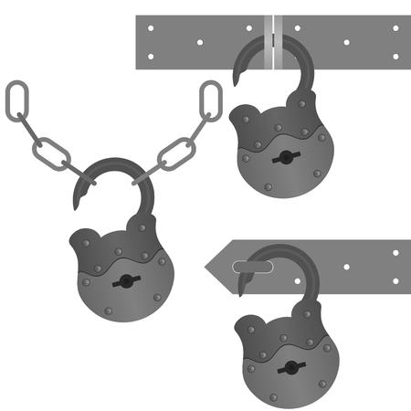 hinge: Set of vintage door locks. The illustration on a white background. Illustration