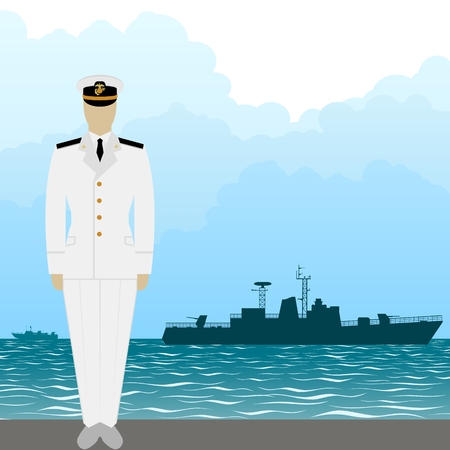seaman: Soldier in uniform of military seaman on a background of warships. The illustration on a white background.