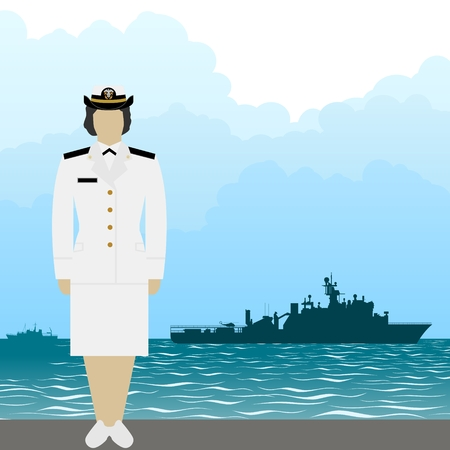 Soldier in uniform of military seaman on a background of warships. The illustration on a white background.