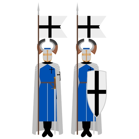 crusaders: Medieval knights, weapons, uniforms and jousting signs and symbols. The illustration on a white background.