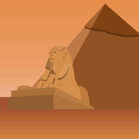 esfinge: Sculpture Sphinx on the background of the Egyptian pyramids. The illustration on a white background.