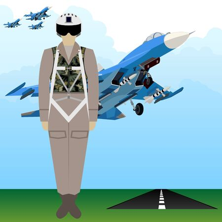 A soldier in uniform on the background of a military pilot military aircraft. The illustration on a white background.