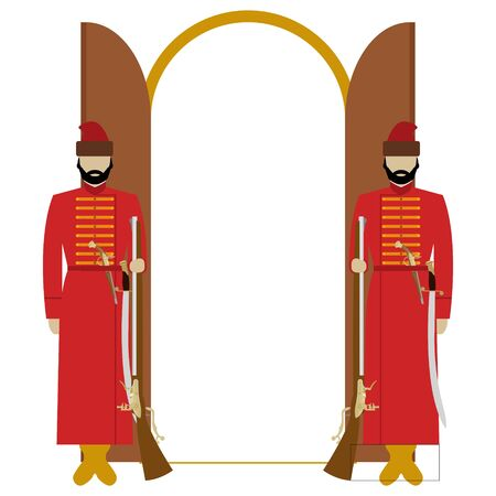 Archers in tsarist Russia with weapons guarding the doors. The illustration on a white background. Illustration
