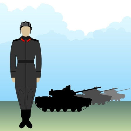 Soldier in uniform tanker on a background of armored vehicles. The illustration on a white background. Illustration