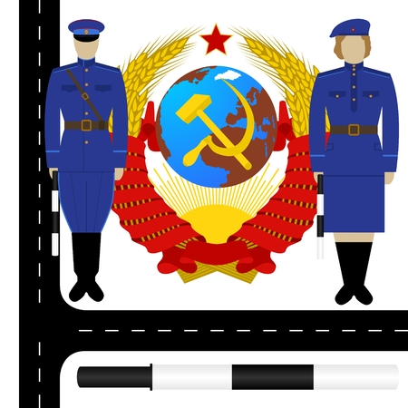 Uniform traffic police in the USSR on the background of the coat of arms of the USSR. The illustration on a white background. Illustration