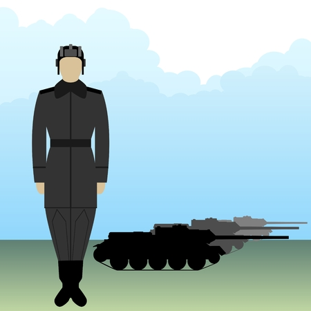 Soldier in uniform tanker of armored vehicles. Illustration