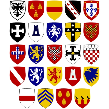 A set of coats of arms on the shields of the Knights Hospitaller at. The illustration on a white background. Ilustração