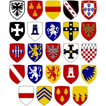 Un conjunto de escudos de armas en los escudos de los Caballeros Hospitaller en. La ilustración sobre un fondo blanco. Foto de archivo - 77343429