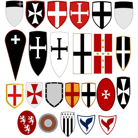 A set of coats of arms on the shields of knights in medieval Crusaders. The illustration on a white background.