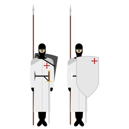 Medieval knights, weapons, uniforms and jousting signs and symbols. The illustration on a white background.