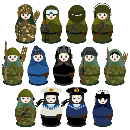 Russian nesting dolls in uniform with automatic weapons. Illustration