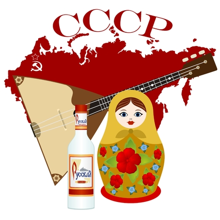 Russian vodka, balalaika, Russian nesting dolls on the background of the card. Abbreviation in Russian. The Soviet Union means the Union of Soviet Socialist Republics. The illustration on a white background.