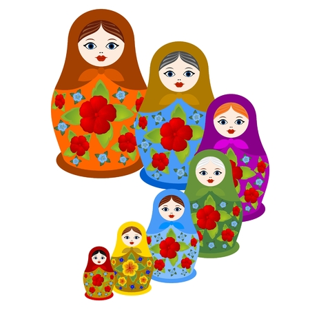 Eine Reihe von verschachtelten Puppen mit dekorativen Elementen geschmückt. Die Abbildung auf einem weißen Hintergrund. Standard-Bild - 79500273