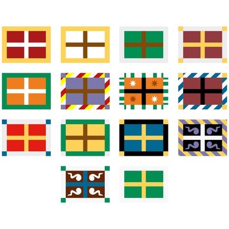 Définir le régiment de mousquetaires bannières en Russie. L'illustration sur un fond blanc. Banque d'images - 80976536
